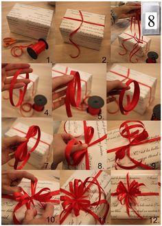8. Luukku  Paketointiin vinkki vitonen ;) Tässäpä ohjeet, miten saat lahjapaketista hieman näyttävämmän, vain lahjanauhaa käyttäen. Tarvitset siis sakset, lahjanauhaa ja tietenkin paketin. Kokeilkaapas ja kertokaa kuinka moni onnistui! Harjoittelu tekee mestarin..