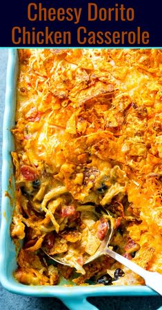Cheesy Dorito Chicken Casserole - Spicy Southern Kitchen - - Cheesy Dorito Chicken Casserole is full of chopped chicken, black beans, Rotel tomatoes, and cheese with lots of crunch from crushed Dorito chips. One of my very favorite Mexican casseroles! Top Recipes, Gourmet Recipes, Mexican Food Recipes, Cooking Recipes, Healthy Recipes, Cheap Recipes, Simple Recipes, Cheap Meals, Cooking Tips