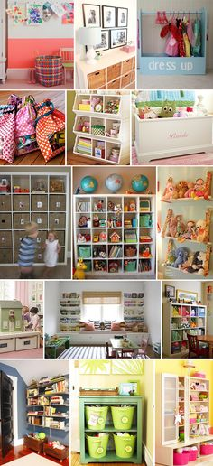 Toy organization - playroom ideas...this is so great!!! Notice the stuffed animals on fabric swings on the right!! So doing that!!
