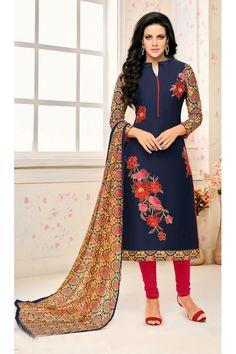 Party Wear Navy Blue Chanderi Salwar Suit - 21654