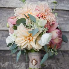 Beautiful peach and pink flowers.