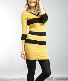 Take a look at this Mustard & Black Stripe V-Neck Sweater Dress by Young Threads on #zulily today!