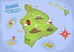 Illustrated map of Big Island Hawaii - Tom Woolley