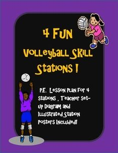 4 P.E. (Physical Education) Volleyball skill stations (net optional) diagram, lesson, and posters $