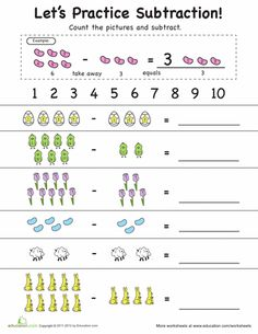 math worksheet : 1000 images about kindergarten  math  subtraction on pinterest  : Subtraction Kindergarten Worksheets