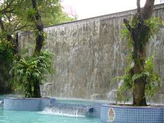 waterfall wall water swimming-pool bathhouse refreshment badespass holiday leisure