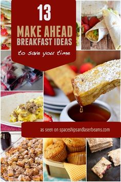 No time for breakfast? Try these make ahead breakfast ideas to save precious morning minutes and boost energy to start the day right! Breakfast On The Go, Make Ahead Breakfast, Sweet Breakfast, Breakfast Time, Breakfast Ideas, Breakfast Recipes, Teacher Breakfast, Breakfast Dishes, Brunch Recipes