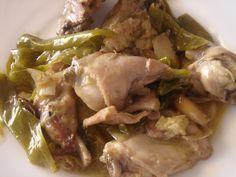 JULIA Y SUS RECETAS: CONEJO CON PIMIENTOS Carne, Salsa, Pork, Meat, Chicken, Meals, Spanish Cuisine, Rabbits