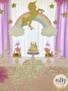 That cake tho😍 Baby Girl Birthday Theme, Unicorn Themed Birthday Party, Kids Birthday Themes, Unicorn Party, Birthday Party Decorations, Aaliyah Birthday, Carousel Party, Unicorn Baby Shower, Birthday Backdrop