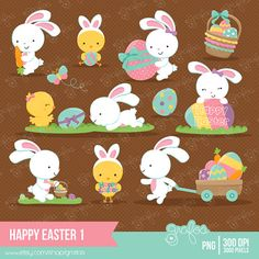 HAPPY EASTER 1 Digital Clipart Pascua Clipart Conejos por grafos
