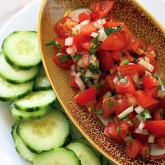 Tomato Salsa With Cucumber Chips: Cucumbers replace chips in this refreshing take on the traditional chips-and-salsa combo.