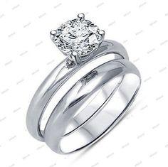 14K White Gold Prong Setting Round Sim.Diamond Single Stone Bridal Ring Set #AffordableBridalJewelry