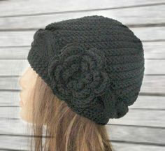 Hand Knit Womens hat   Cloche Victorian black Hat  with by Ebruk