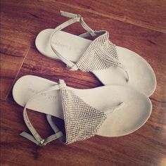 Madden Girl Sandals Light pink with pretty sparkles. In great condition. Worn one time but are slightly big on me. Soft bottoms make them really comfy on feet. Strap around back make them easy to walk in. Girlie and pretty. Madden Girl Shoes Sandals
