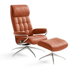 Stressless London High-Back Chair and Ottoman Cabin Furniture, Smart Furniture, Furniture Covers, Leather Furniture, Leather Reclining Sofa, Leather Sofa, Lounge Chairs, Living Room Chairs, High Back Chairs