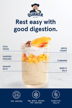 Chia-Peach Overnight Oats Good things come to those who wait–especially better digestion. Quaker's Chia Peach Overnight Oats a dietary fiber. And fiber can help keep things moving. Oats Recipes, Snack Recipes, Cooking Recipes, Fish Recipes, Cooking Tips, Recipies, Clean Eating Recipes For Dinner, Clean Eating Snacks, Healthy Eating
