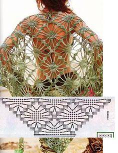 Free Shawl Crochet Patterns - Beautiful Crochet Patterns and Knitting Patterns Crochet Scarf Diagram, Gilet Crochet, Crochet Chart, Crochet Motif, Crochet Designs, Crochet Lace, Crochet Stitches, Crochet Patterns, Crochet Gratis