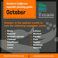 No rest for the weary gardener in Southern California. Look at all the vegetables you can be planting in October. #gardening