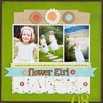 Don't forget about the flower girl! Bold and bright. Really like this page! (Wedding scrapbooking layout idea)