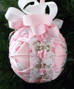 Prairie Spring Beauty Quilted ornament This ornament measures 3 inch's and is done in the cathedral pattern Quilted Fabric Ornaments, Quilted Christmas Ornaments, Beaded Ornaments, Ball Ornaments, Christmas Tree Ornaments, Christmas Decorations, Shabby Chic Christmas, Pink Christmas, Holiday Crafts