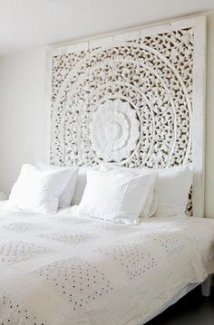 """I love it !!! ...what a fantastic carved MANDALA /headboard.It's an extraordinary focal point.     The word """"mandala"""" is from the classical Indian language of Sanskrit. Loosely translated to mean """"circle,"""" a mandala is far more than a simple shape. It represents wholeness, and can be seen as a model for the organizational structure of life itself--a cosmic diagram that reminds us of our relation to the infinite, the world that extends both beyond and within our bodies and minds…"""
