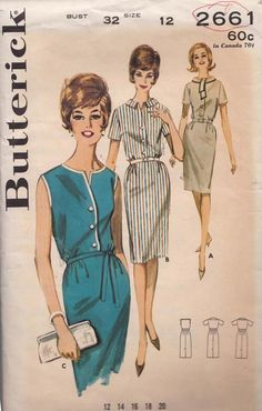 Womens Dress Bust 32 Vintage Butterick Sewing Pattern 2661 Wiggle Dress /Bloused Bodice /Scarf Collar / V Neck or Rolled Collar Vintage 1950s Dresses, Vintage Outfits, 60s Dresses, Vintage Clothing, 1960s Fashion, Vintage Fashion, Club Fashion, Vintage Sewing Patterns, Clothing Patterns