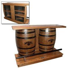 Fantastic idea to use an old barrel for your man cave bar. Whiskey Barrel Bar, Wine Barrel Coffee Table, Barrel Table, Wine Barrels, Wine Barrel Crafts, Barris, Game Room Bar, Wine Barrel Furniture, Barrel Projects