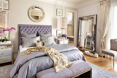 Love this white and purple/grey combo with all the different mirrors and frames. Gonna try to do this with the master. :)