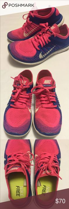 Nike Free 4.0 flyknit Sz 9 pink/blue Nike free 4.0 flyknit Sz 9 EUC pink ,blue and a white swoosh . Worn one time Nike  Shoes Athletic Shoes