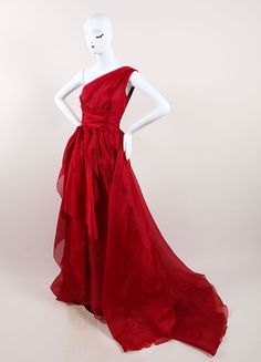 Red Silk One Shoulder Draped Full Gown
