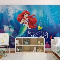 Blue style kids bedroom wallpaper mural in giant size. Disney Little Mermaid wall art decor. Free UK shipping. Check out our full offer.