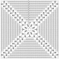 Crochet granny square: easily customisable to any size. Crochet granny square: easily customisable to any size. Crochet Cushion Cover, Crochet Pillow Pattern, Crochet Motifs, Crochet Cushions, Crochet Blocks, Granny Square Crochet Pattern, Crochet Diagram, Crochet Chart, Crochet Squares