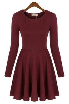 2013 New Skinny Long Sleeve Pleated Dress