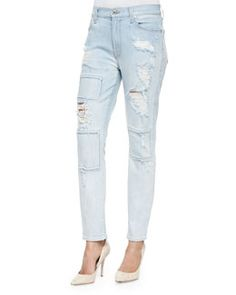 T966Y 7 For All Mankind Destroyed/Patchwork Slim Jeans