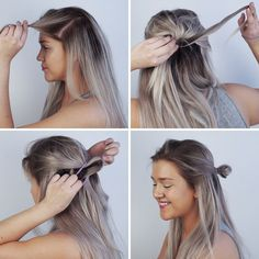 Dark ashy blonde verging on grey. Ombre effect with dark  roots and highlighted ends. My definition of Nordic super blonde: