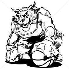 Mascot Clipart Image of Wildcats Basketball Player Black White Graphic