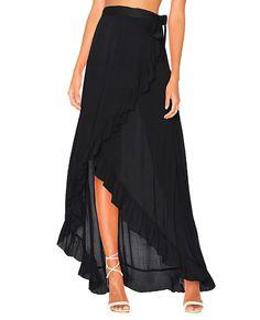 Bestyou Women's Printed Side Slit Sheer Chiffon Maxi Skirt Beach Cover Ups (Black) at Amazon Women's Clothing store: