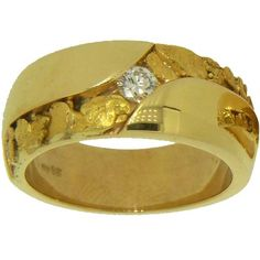 Alaskan Gold Nugget and Diamond Wedding Band. Style#: GRM312 - Gold Nugget Jewelry by Alaskan Gold Rush Fine Jewelry - Fairbanks, Alaska - 907-456-4991 - www.goldrushfinejewelry.com