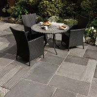 Bradstone Cloister is a beautiful time aged concrete paving slab in a mixture of light and dark grey and random sized patio project packs. #GreyPavingSlabs #ConcretePaving