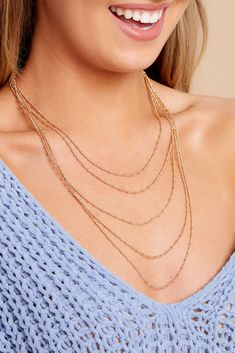 Need something perfect for that outfit you're wearing out? We've gotcha covered! It's That Simple! Gold Layer Necklace features 5 gold chains of varying length