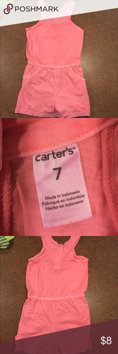 Carters romper Like new! Coral colored romper with pockets. Very soft material. Smoke free/pet free home. Carter's Shirts & Tops Tank Tops