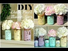 Mason Jar Crafts - How To Chalk Paint Your Mason Jars - DIY Joy