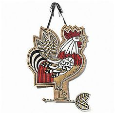 """Strutting Rooster Jute Wall D�cor Hanging Burlap Measures 22"""" W x 29"""" H x 1"""""""