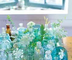 Aqua Glass & Wild Flowers
