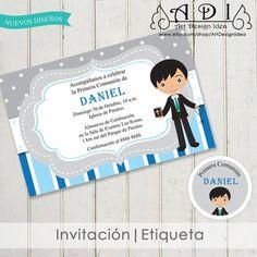 First Communion invitation and free tags. Invitaciones primera comunion con etiquetas gratis.