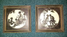 PAIR OF VINTAGE RELIANCE SILHOUETTE PICTURES WOODEN FRAMES COURTSHIP