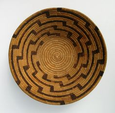 beautiful large mint mid century native american papago basket bowl indian folk art 1950s 1960s weaving on Etsy, $265.00