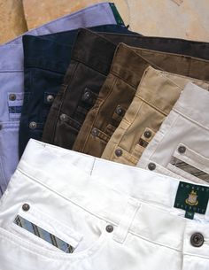 Loving the new cotton stretch 5-pocket jeans from Robert Talbott. A nicer alternative to denim and Made in USA.