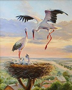 Buy Stork Nest - Birds Paint By Number kit or check our new modern collections for adults paint by numbers. Relax and enjoy your canvas painting Stork Bird, Images D'art, Wall Painting Decor, Ukrainian Art, Wall Art Pictures, Oil Painting Pictures, Vintage Birds, Acrylic Painting Canvas, Bird Art
