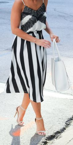 Bowknot Contrast Striped A-Line Midi Skirt Vintage Dresses, Nice Dresses, Amazing Dresses, Daily Fashion, Everyday Fashion, Reunion Outfit, Looks Style, My Style, Fashion Looks